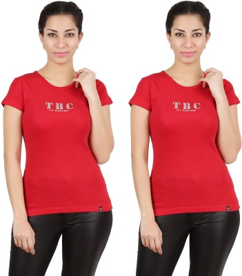 Twin Birds Printed Women's Round Neck Red T-Shirt