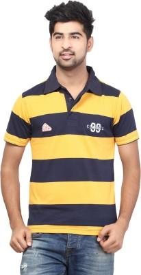 Orange Valley Striped Men's Polo Neck Yellow T-Shirt