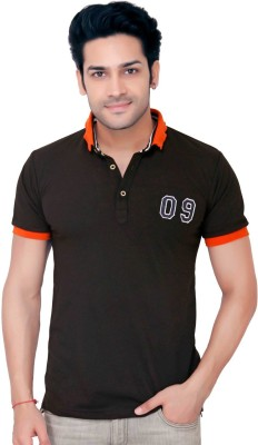 GoPlay Solid Men's Polo Neck Black T-Shirt