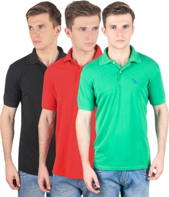 PRO Lapes Solid Men's Polo Neck Black, Red, Green T-Shirt