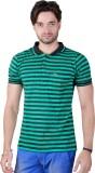 Yellow Dots Striped Men's Polo Green T-S...