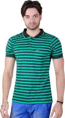 Yellow Dots Striped Men's Polo Green T-Shirt