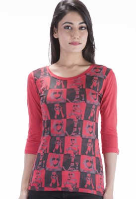 Peppermint Blues Printed Women,s Round Neck Red T-Shirt