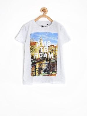 Sela Printed Boy's Round Neck Grey T-Shirt