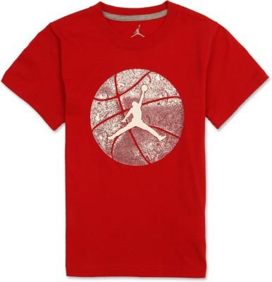 Jordan Graphic Print Boy's Round Neck Red T-Shirt