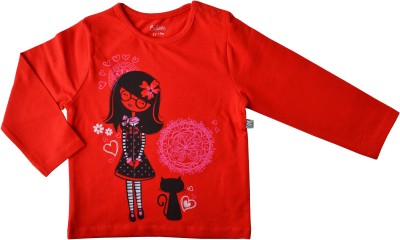 Babeez Solid Baby Girl's Round Neck Red T-Shirt