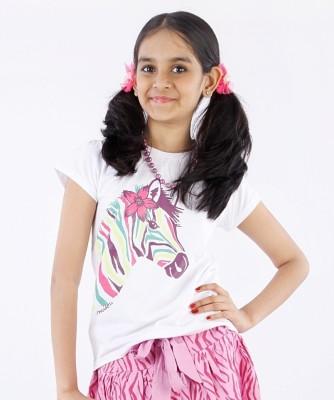 Milou Animal Print Baby Girl's Round Neck T-Shirt