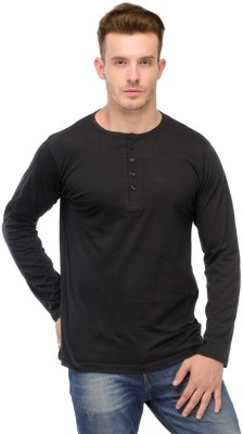 Ansh Fashion Wear Solid Men's Henley Black T-Shirt