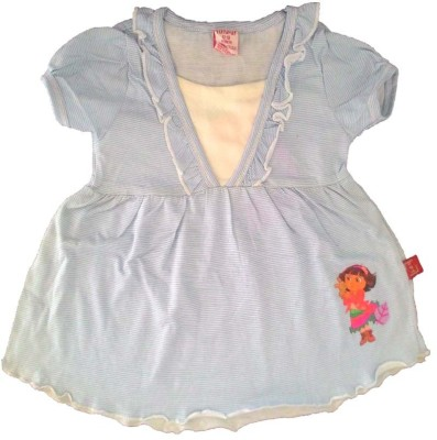 Cool Club Striped Baby Girl's Round Neck Light Blue T-Shirt