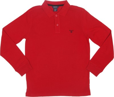 Gant Solid Men's Polo Neck Red T-Shirt