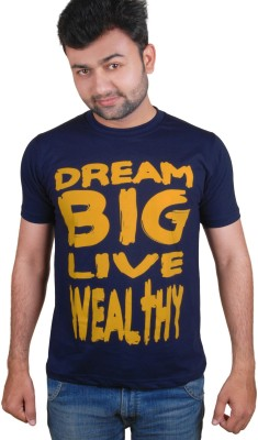 Tymstyle Printed Men,s Round Neck Blue, Yellow T-Shirt