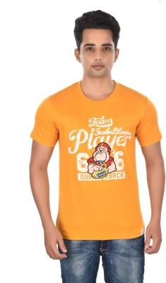 Rockstar Jeans Graphic Print Men's Round Neck Orange T-Shirt
