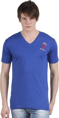Tease Denim Embroidered Men's V-neck Blue T-Shirt