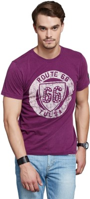 Route 66 Printed Men's Round Neck Purple T-Shirt