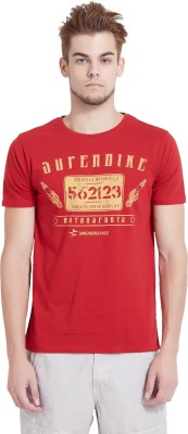 Breakbounce Printed Men's Round Neck Red T-Shirt
