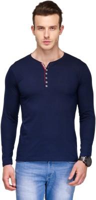 TSX Solid Men's Henley Blue T-Shirt