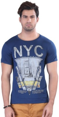 Contrast Graphic Print Men's Round Neck Dark Blue T-Shirt