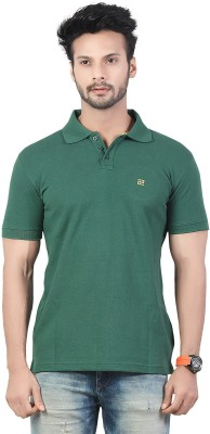 Afylish Solid Men's Polo Neck Green T-Shirt
