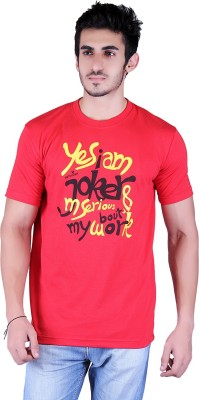 Metaloak Printed Men,s Round Neck Red T-Shirt