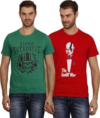 Crush on Craze Printed Men's Round Neck Green, Red T-Shirt