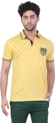 Purple Haze Floral Print Men's Polo Neck Yellow T-Shirt
