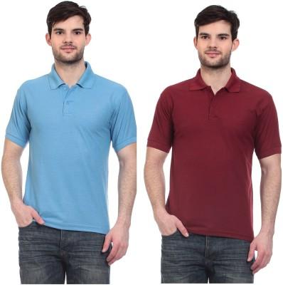Blue-Tuff Solid Men,s Polo Neck Light Blue, Maroon T-Shirt