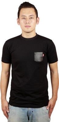 Kokkivo Clothing Solid Men's Round Neck Black T-Shirt