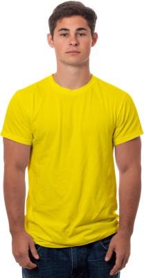 99Tshirts Solid Men's Round Neck Yellow T-Shirt