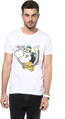 Henry and Smith Printed Men's Round Neck White T-Shirt