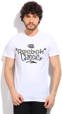 Reebok Classic Printed Men's Round Neck White T-Shirt