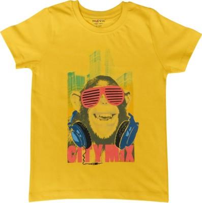 Kothari Printed Girl's Round Neck Yellow T-Shirt