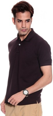 DoubleF Solid Men's Polo Neck Brown T-Shirt