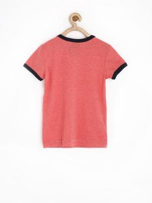 Sela Printed Boy's Round Neck Red T-Shirt