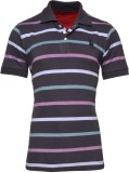 IND Classic Striped Men's Polo Neck Grey...