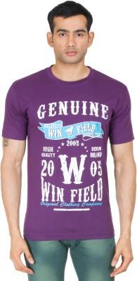 Winfield Printed Men's Round Neck Purple T-Shirt
