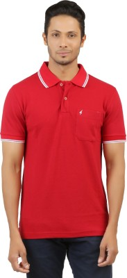 Menthol Solid, Embroidered Men's Polo Neck Red T-Shirt