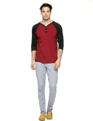 Being Crazy Solid Men,s Henley Maroon T-Shirt