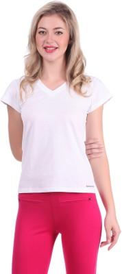 Bahamas Solid Women's V-neck White T-Shirt