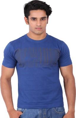 Rat Trap Printed Men's Round Neck Blue T-Shirt
