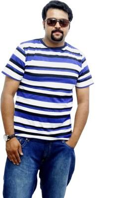 East West Striped Men's Round Neck Blue, Black T-Shirt
