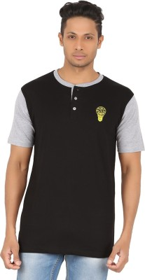 R-CROSS Solid Men,s Henley Black T-Shirt