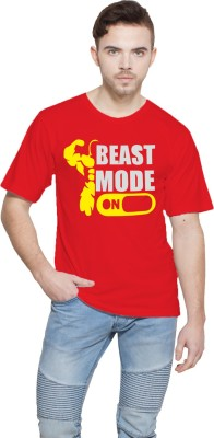Shopping Monster Printed Men,s Round Neck Red T-Shirt