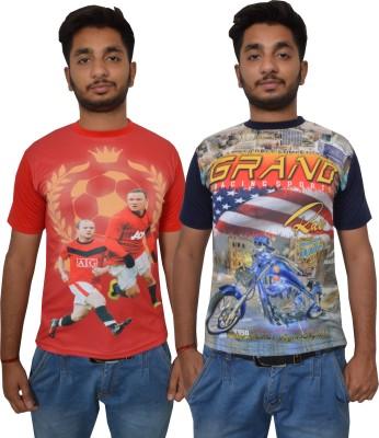 Shaun Printed Men's Round Neck Red, Dark Blue T-Shirt