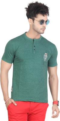 Maniac Embroidered Men's Henley Dark Green T-Shirt