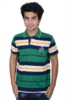 Being Dessi Striped Men's Flap Collar Neck Green T-Shirt