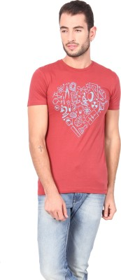 Geekly Printed Men,s Round Neck Red T-Shirt