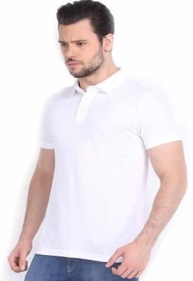 DoubleF Solid Men's Polo Neck White T-Shirt