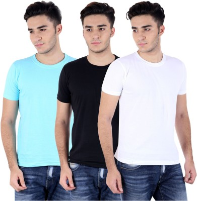 Perfect 10 Solid Men's Round Neck Multicolor T-Shirt
