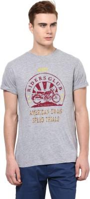 American Swan Solid Men's Round Neck Grey T-Shirt