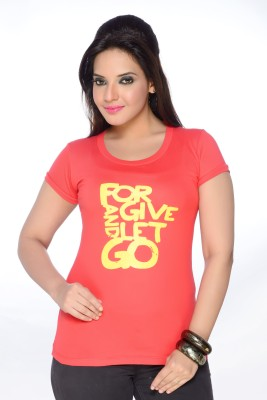 No Problem Printed Women's Round Neck Red T-Shirt